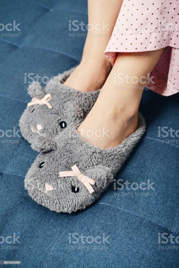 Female legs in cute slippers zbiór zdjęć royalty-free