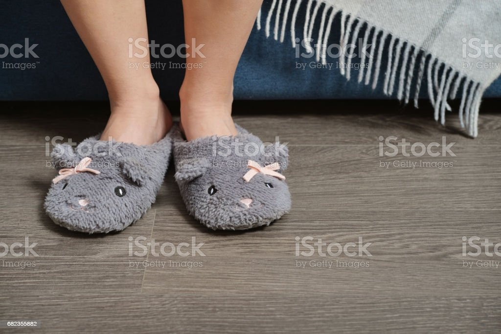 Female legs in cute slippers royaltyfri bildbanksbilder