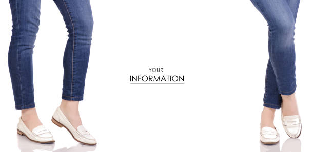 female legs in jeans classic lacquer white shoes moccasins spring autumn fashion buy shop set pattern - spring fashion stock pictures, royalty-free photos & images