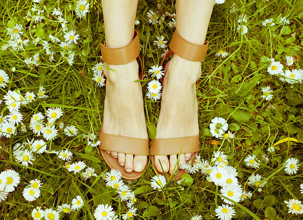 Female legs in sandals on a grass/toned photo – Foto