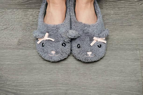 Female legs in slippers stock photo