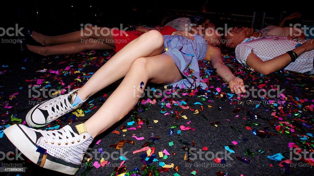 Female legs on floor stock photo
