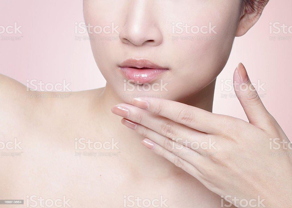 Female lips closeup stock photo
