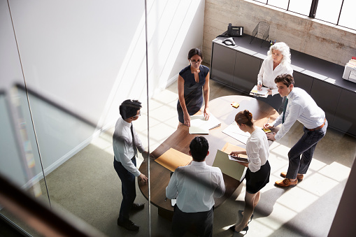 istock Female manager and business team in meeting, elevated view 1010836174