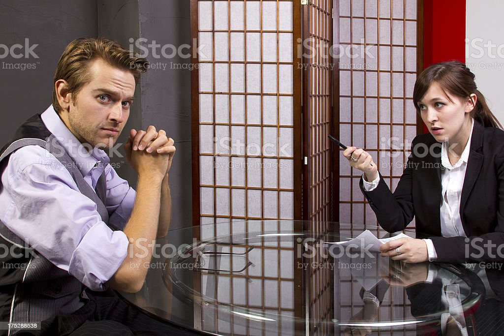Female Manager Angry at a Male Employees Poor Job Performance royalty-free stock photo