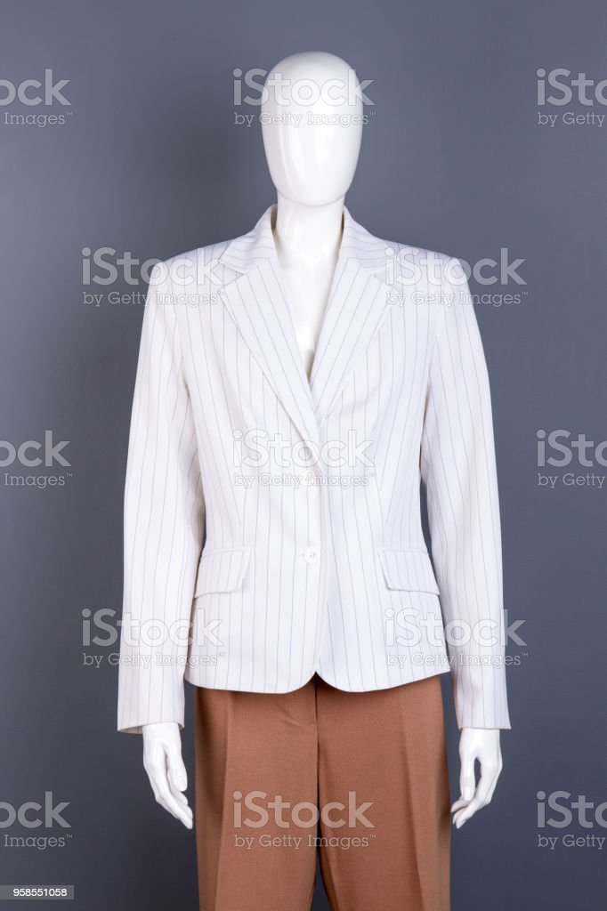 0cc8f69a44fd8 Female Mannequin In White Striped Blazer Stock Photo & More Pictures ...