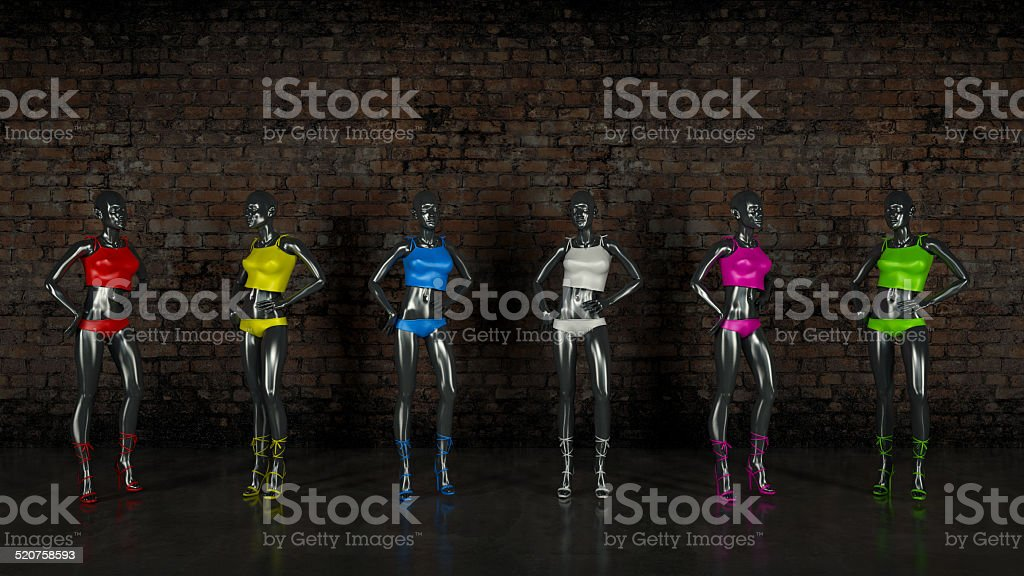 Female Mannequin on brick wall stock photo