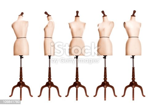 female mannequin torso in different angles isolated on white background