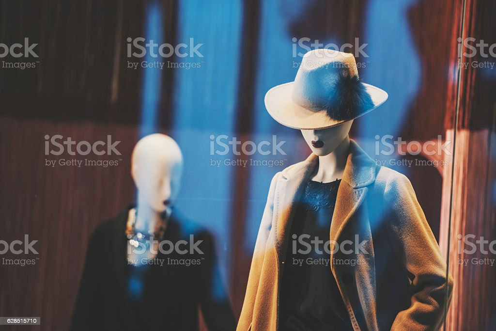 Female mannequins in a fashion store stock photo