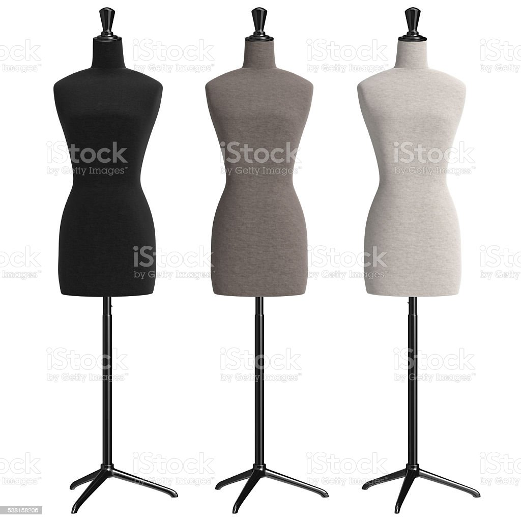Female mannequins retro style, front view stock photo