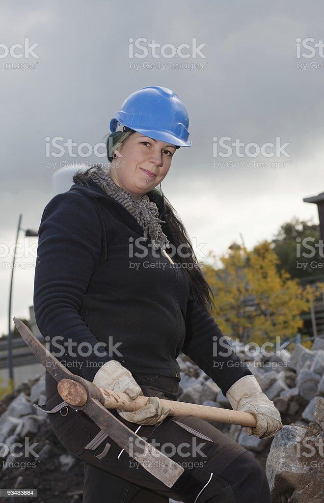 Weiblichen Arbeiter in Blau Schutzhelm Lizenzfreies stock-foto