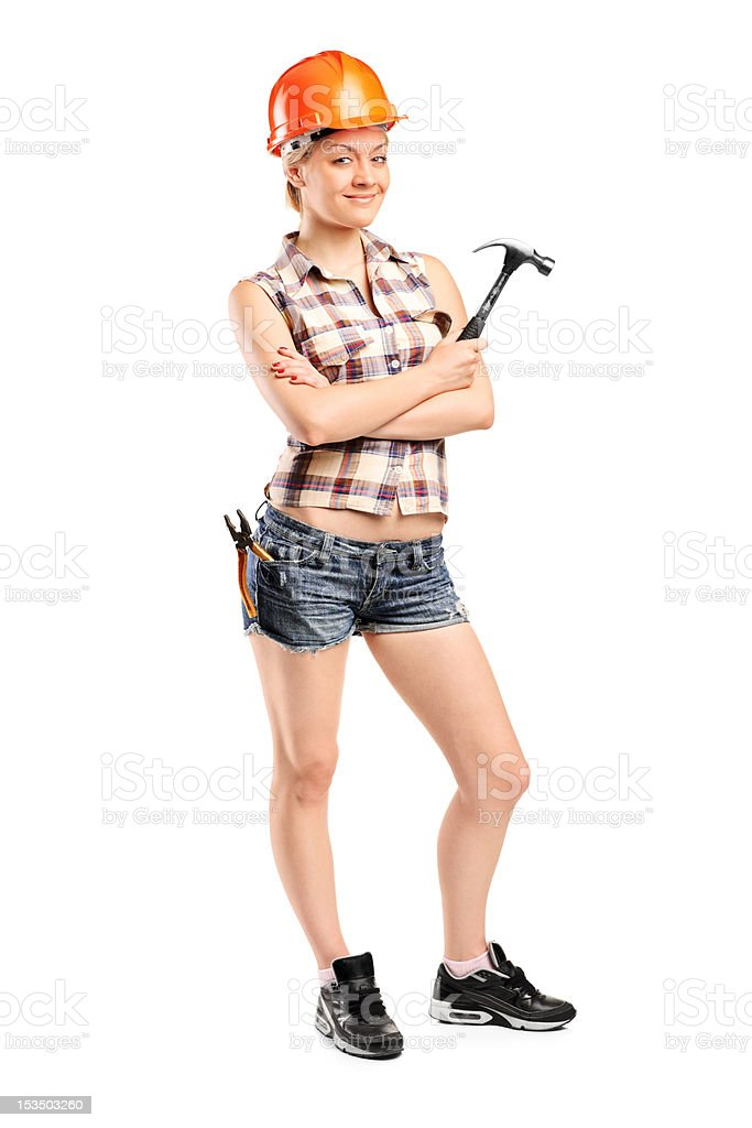 Female manual worker posing royalty-free stock photo