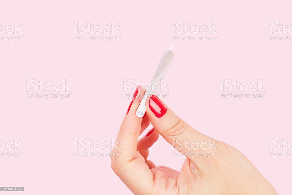 Female marijuana abuse. stock photo