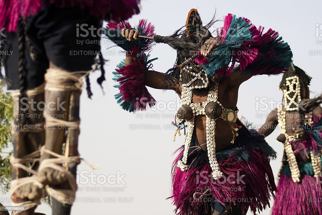 Female mask and the Dogon dance, Mali. stock photo