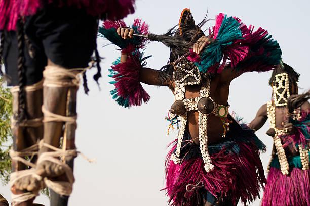 Female mask and the Dogon dance, Mali. stock photo
