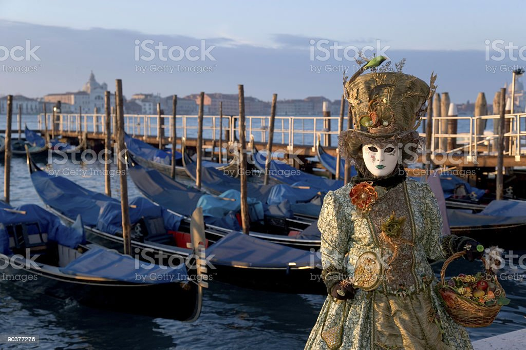 Female mask at Grand Canal in Venice, Italy (XXL) stock photo