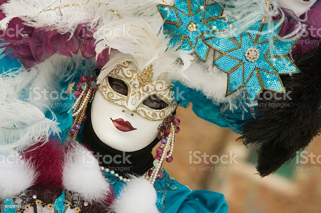 Female mask with beautiful costume at carnival in Venice (XXL) royalty-free stock photo