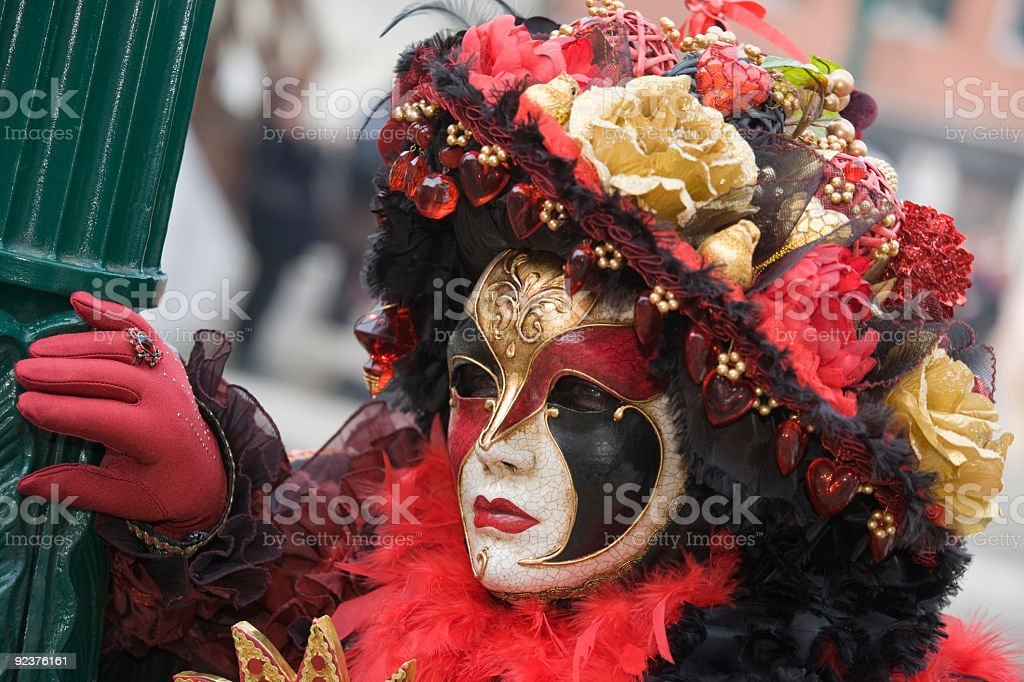 Female mask with beautiful hat at Carnival in Venice (XXL) royalty-free stock photo