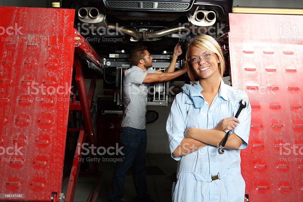Female Mechanic at Autobody Shop stock photo