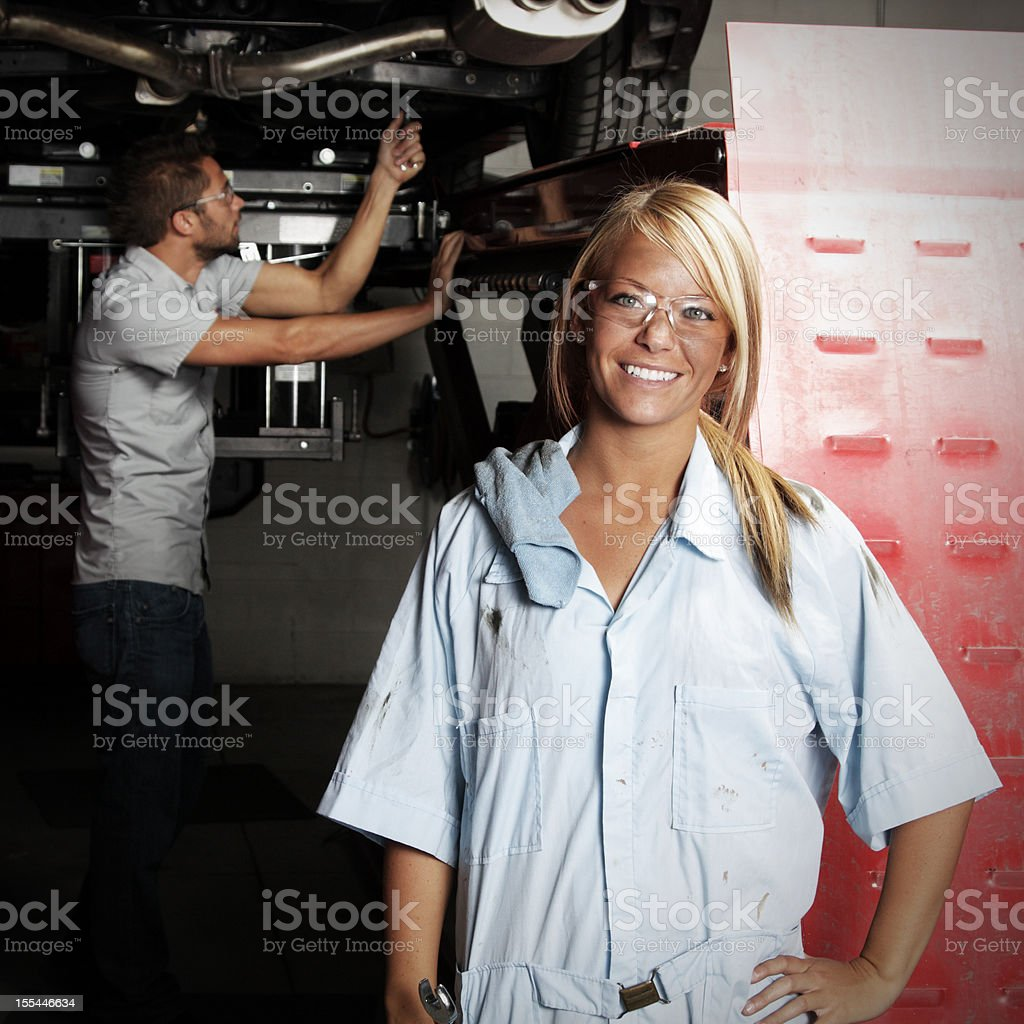 Female Mechanic at Autobody Shop stock photo