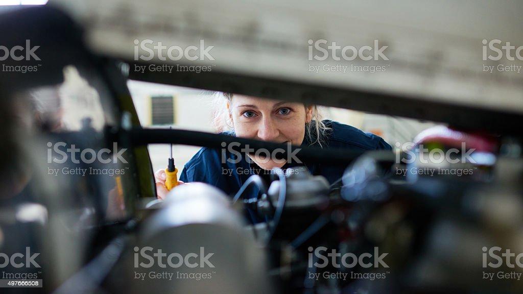 Female mechanic stock photo