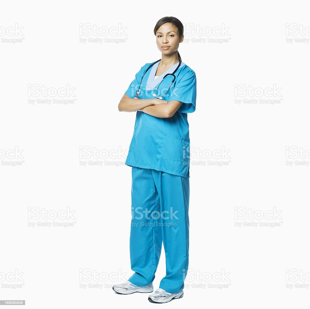 Female Medical Professional in Scrubs - Isolated stock photo