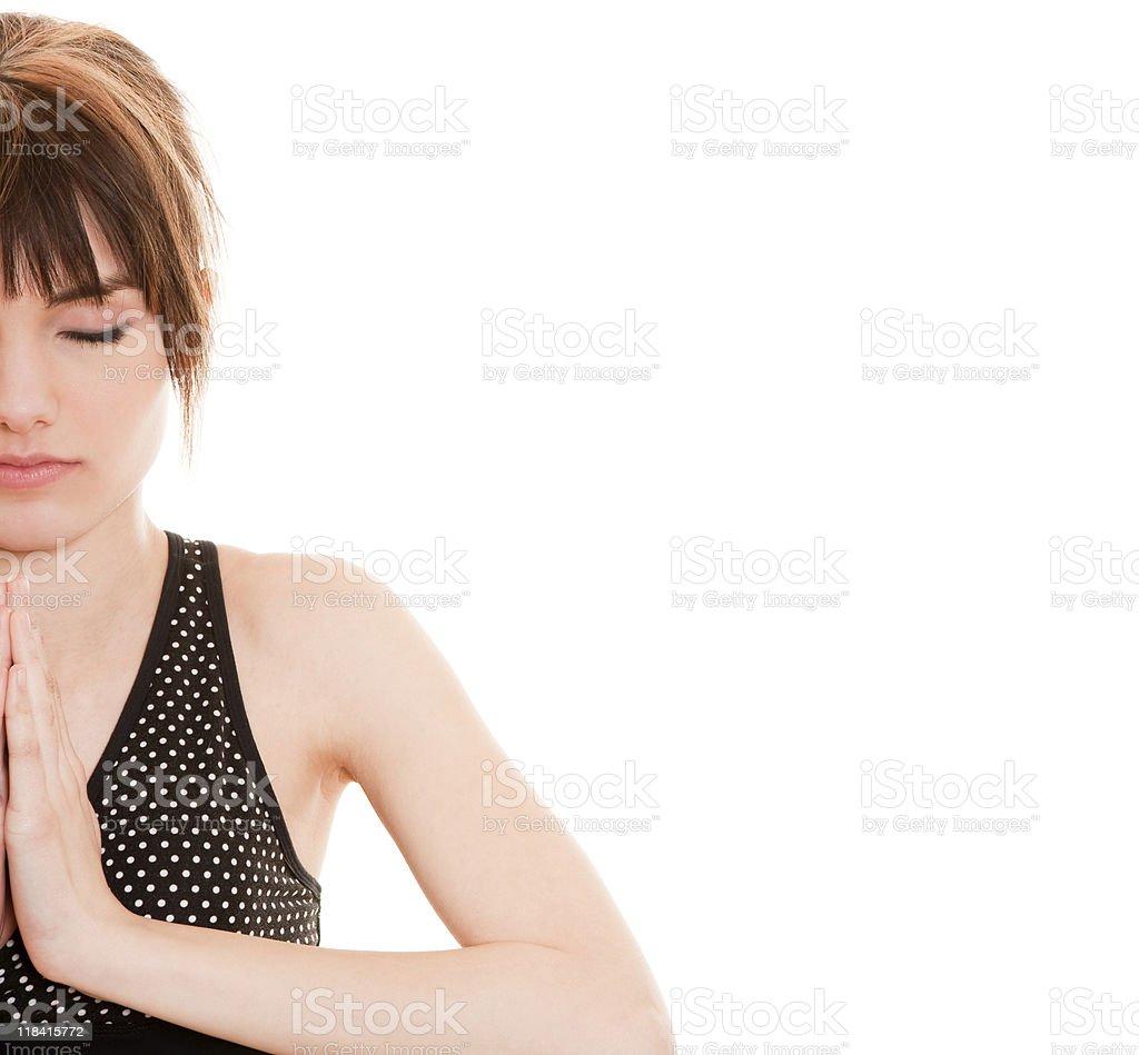 Female meditating royalty-free stock photo