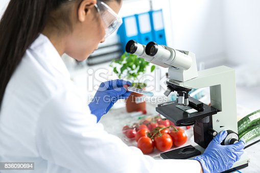 Female microbiologist using microscope in laboratoty , examinating vegetables.