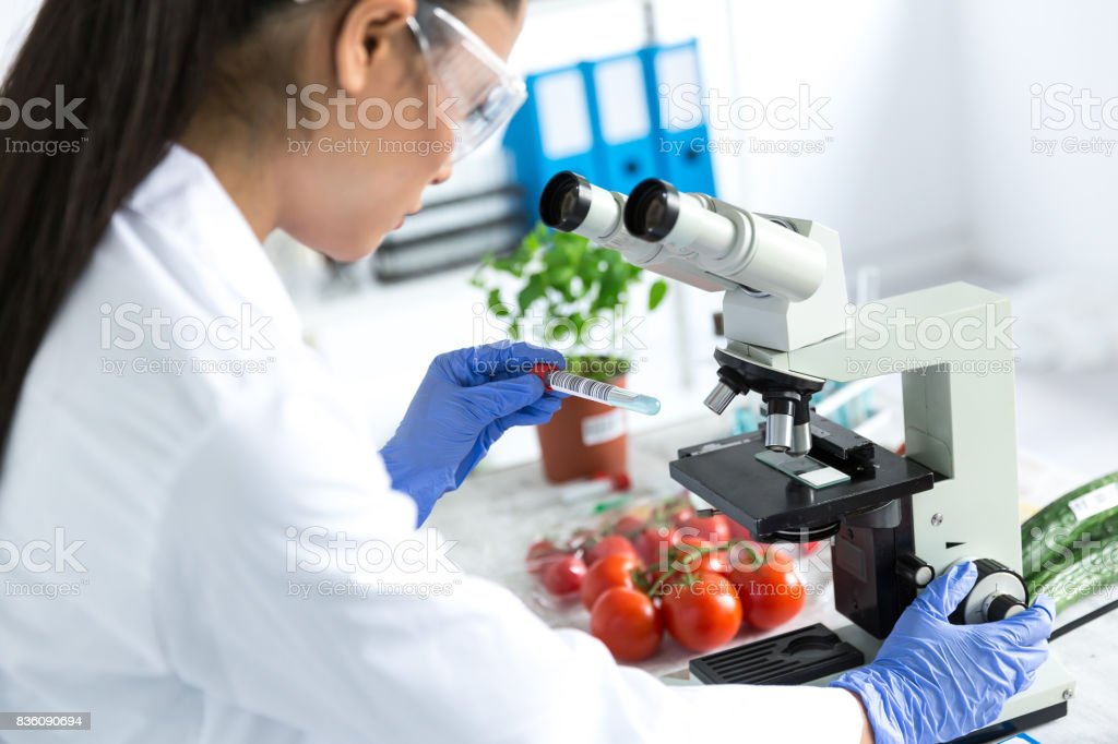 Female microbiologist using microscope in laboratoty stock photo