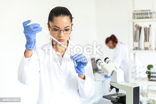 istock Female microbiologist wprking at laboratory 846342620