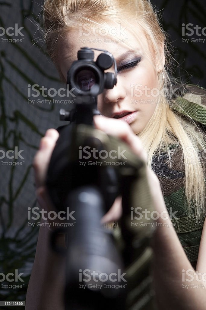 Female military sniper royalty-free stock photo