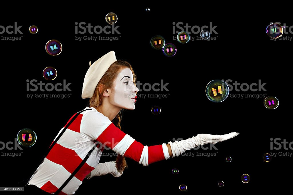 Retrato de la mujer MIM cómico burbujas aisladas en capturas, - foto de stock