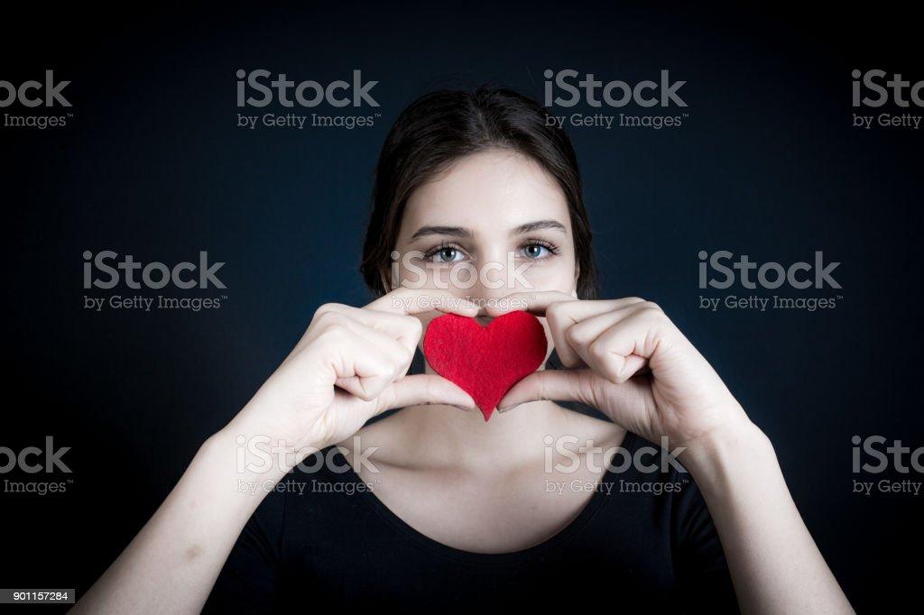 female model shooting in studio stock photo
