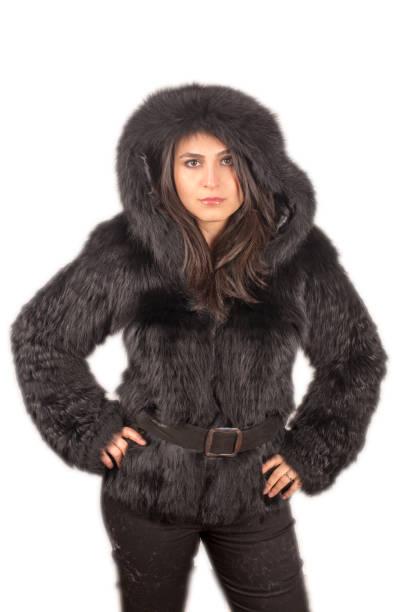 kadın modeli giyiyor eather ceket - byakkaya stok fotoğraflar ve resimler