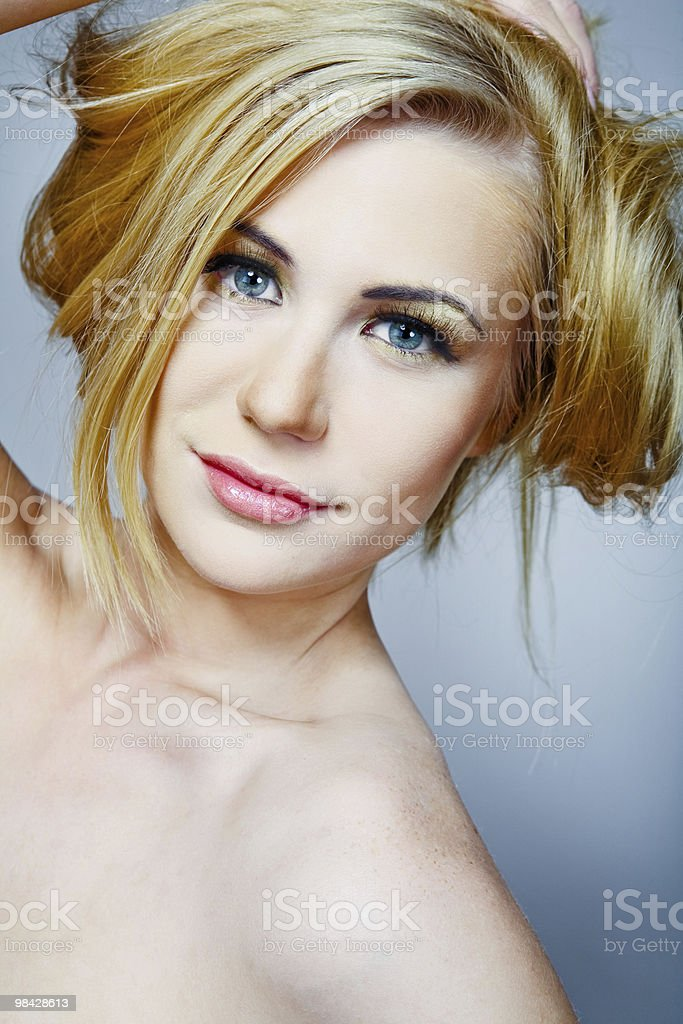 Female model with long blond hair. royalty-free stock photo