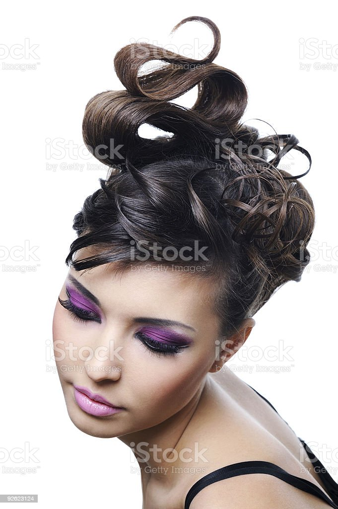 A female modelling a trendy hairstyle and cosmetics royalty-free stock photo