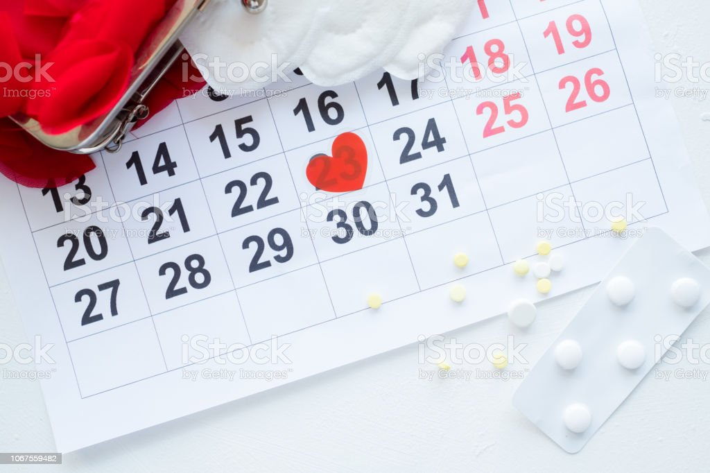 female monthly cycle calendar pills pain treatment stock photo