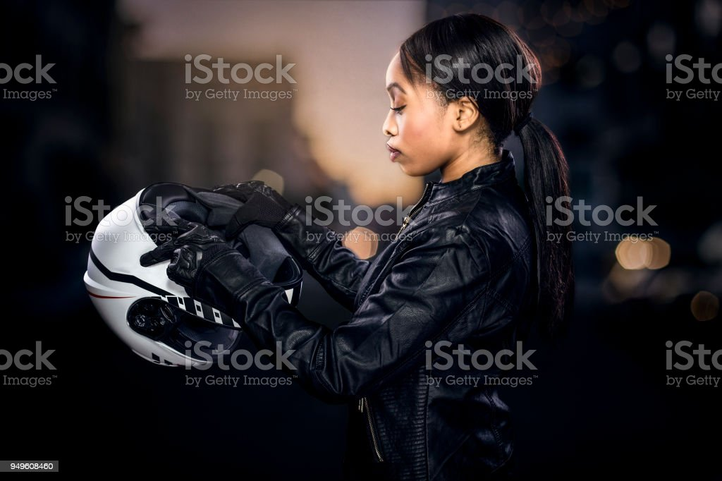 Female Motorcycle Rider Or Race Car Driver Stock Photo Download Image Now Istock