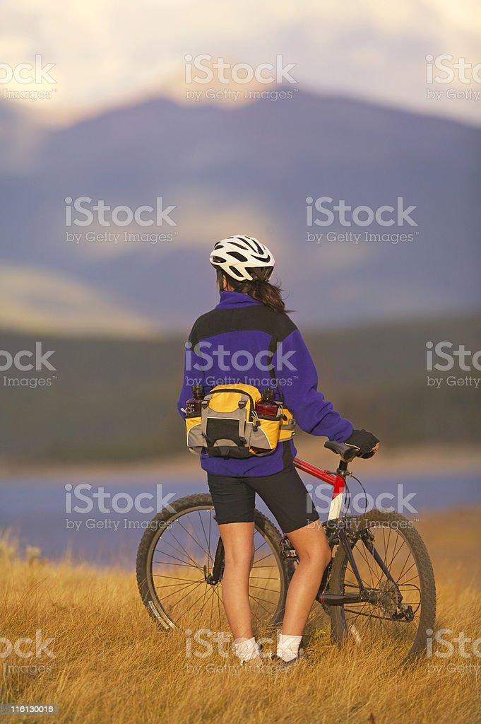 Female Mountain Biker In Colorado royalty-free stock photo