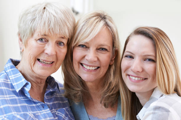 female multi generation portrait at home - three people stock photos and pictures