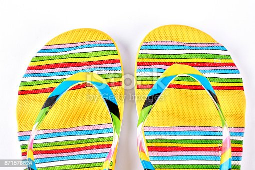 istock Female multicolored slippers close up. 871576824