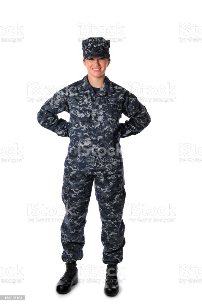 Female navy soldier in uniform stock photo
