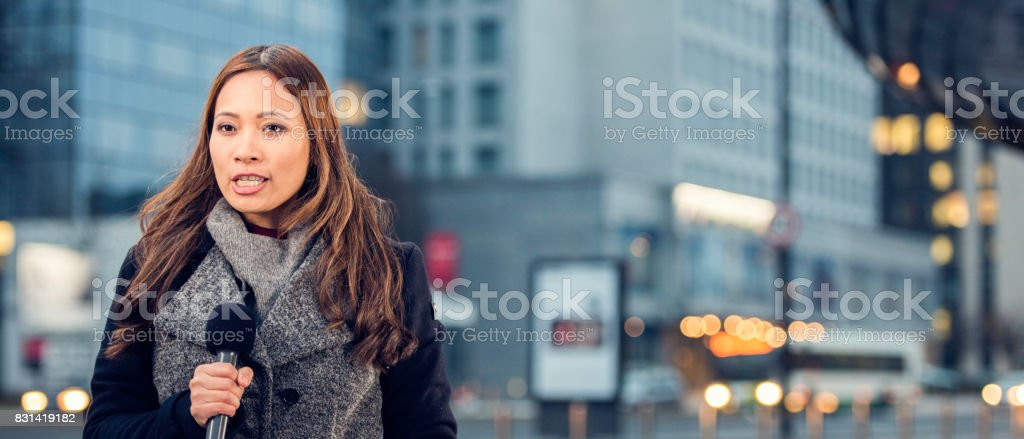 Female newsreader stock photo