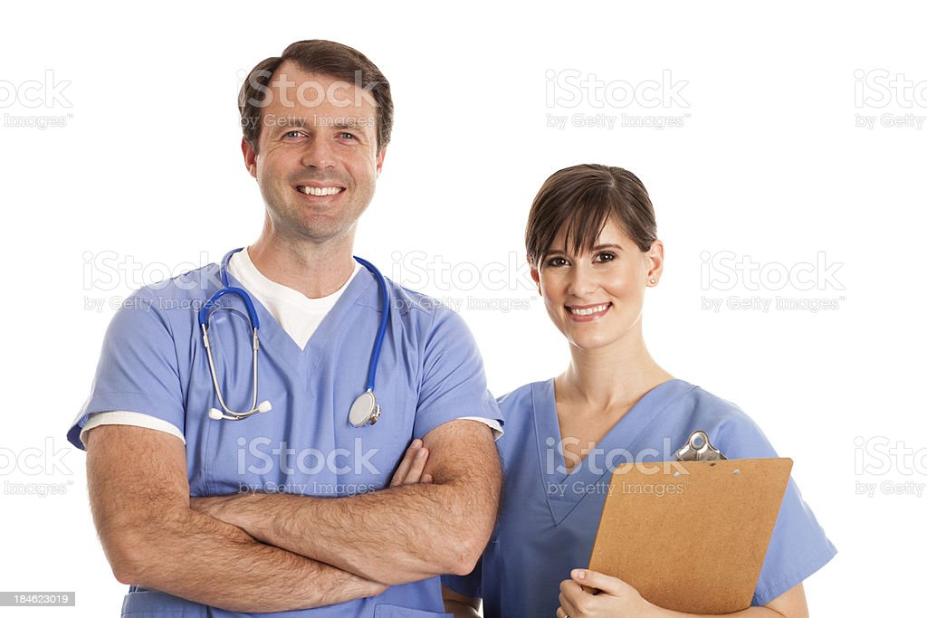 Female Nurse and Male Doctor Smiling on White Background royalty-free stock photo