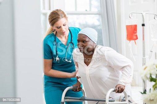 941439642istockphoto Female nurse helps senior patient walk 947503098
