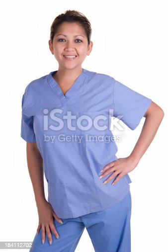 istock Female Nurse with Scrubs 184112702