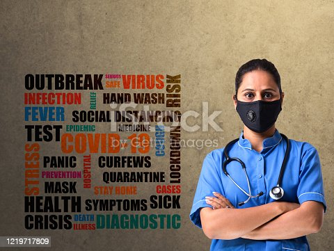 female nurse with word cloud COVID-19