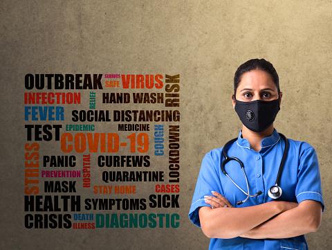 female nurse with word cloud COVID-19