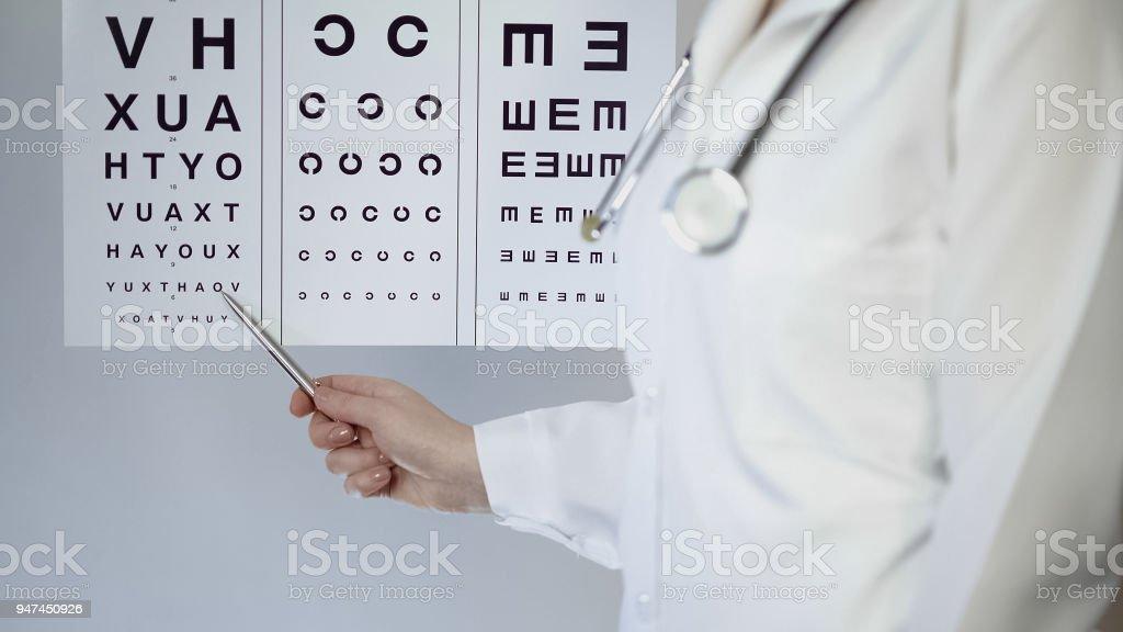 Female oculist pointing at table with small letters, checking patients eyesight stock photo