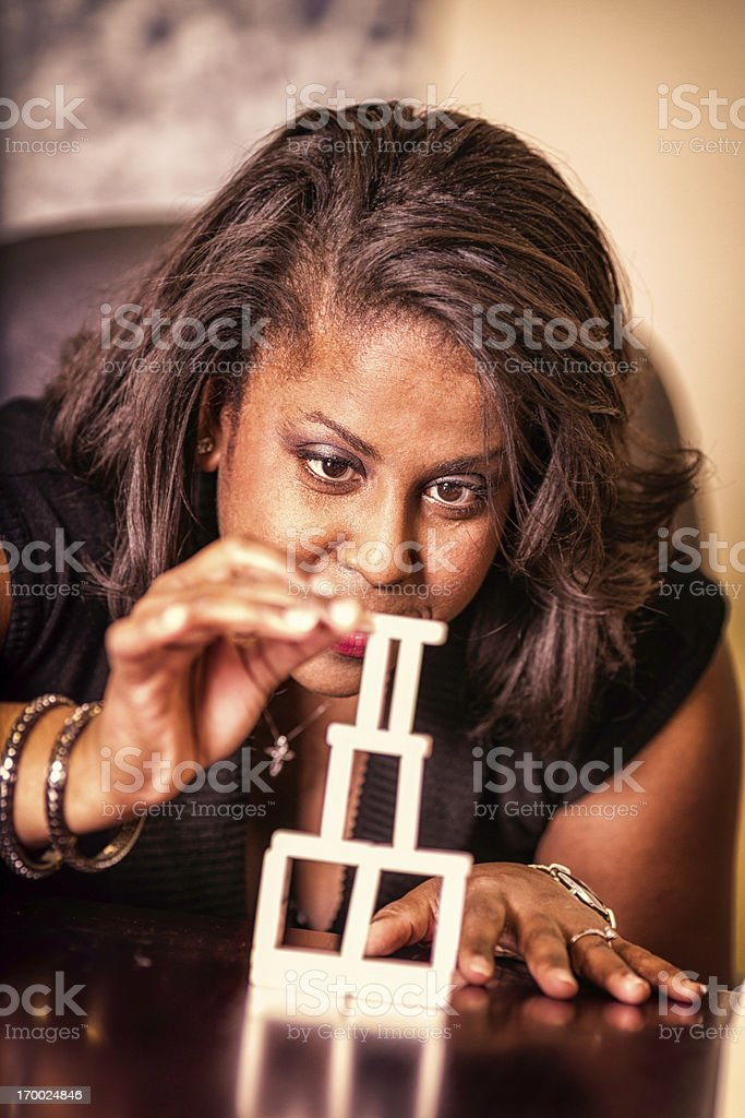 Female Office Worker participating in Creativity Workshop royalty-free stock photo